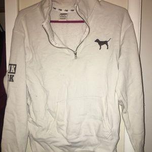 white xs half zip from PINK